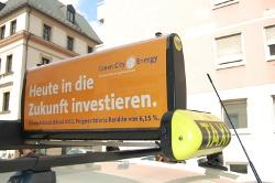 Green City Energy + Taxiunternehmen IsarFunk + Mitsubishi's i-MiEV = Deutschlands erstes Elektrotaxi im Alltagsbetrieb.