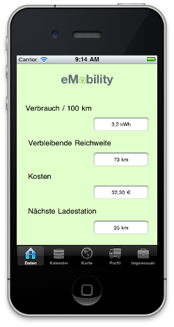 Applikation für iPhone und Android - e Mobil Simulator