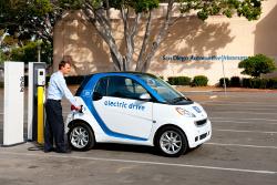 smart fortwo Elektroauto an der Ladesäule